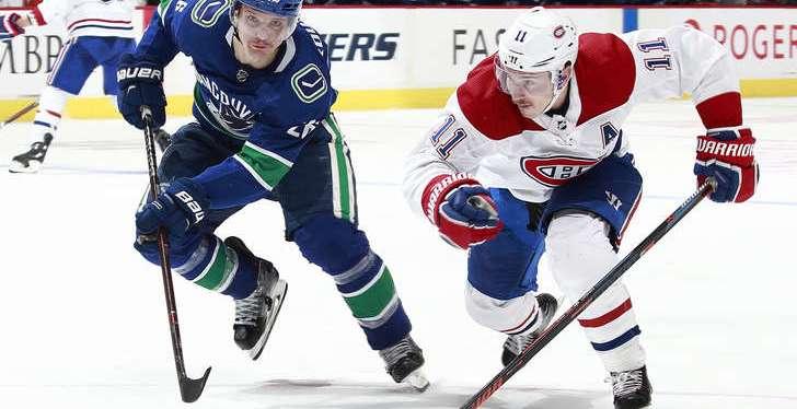 Le CH s'incline face aux Canucks de Vancouver 6-5 mercredisoir